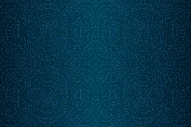 Modèle Sans Couture Punk Vapeur Bleu Avec Engrenages Vecteur Premium