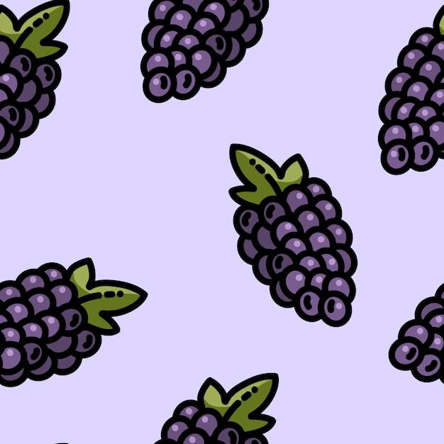 Modèle sans couture de raisins dessin animé mignon style plat Vecteur Premium