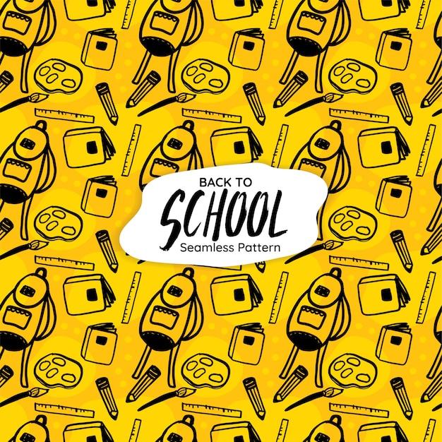Modèle sans couture de retour à l'école sur fond jaune Vecteur Premium