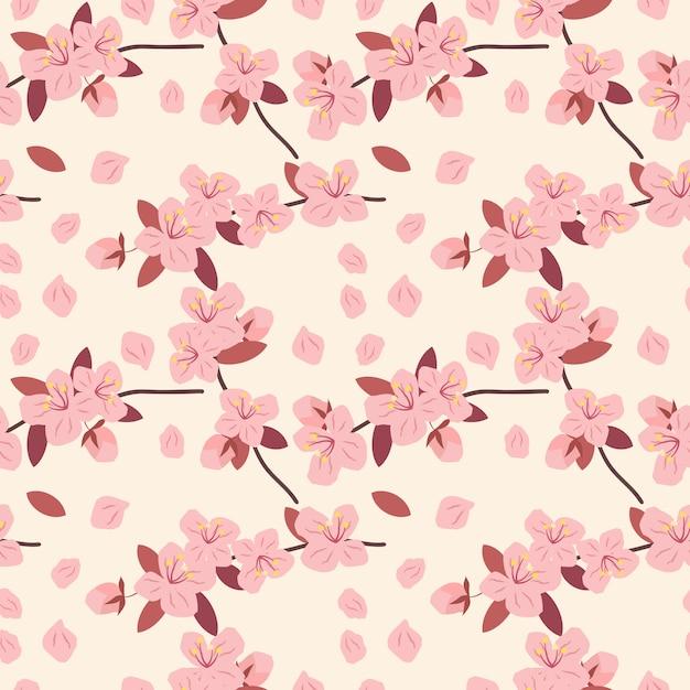 Modèle sans couture rose cherryblossom. Vecteur Premium