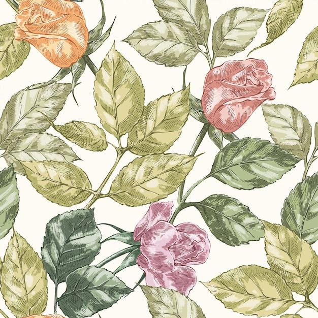 Modèle sans couture rose vintage Vecteur Premium