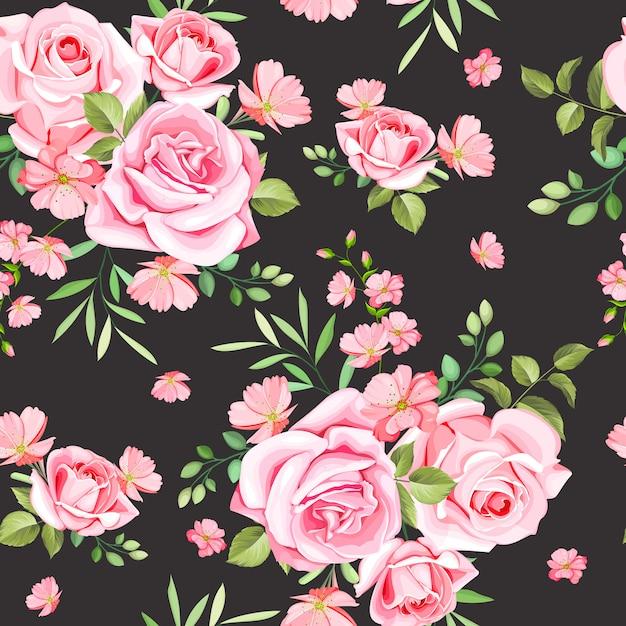 Modèle sans couture roses et feuilles élégantes Vecteur Premium