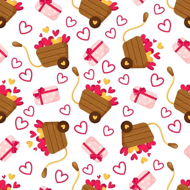 Modèle Sans Couture De La Saint-valentin - Boîte-cadeau De Dessin Animé Avec Arc, Petits Coeurs, Chariot En Bois Ou Brouette Vecteur Premium