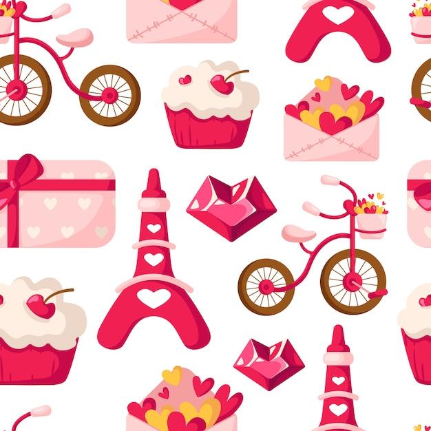 Modèle sans couture de la saint-valentin - enveloppe de dessin animé avec des coeurs, cupcake ou dessert, tour eiffel, vélo Vecteur Premium
