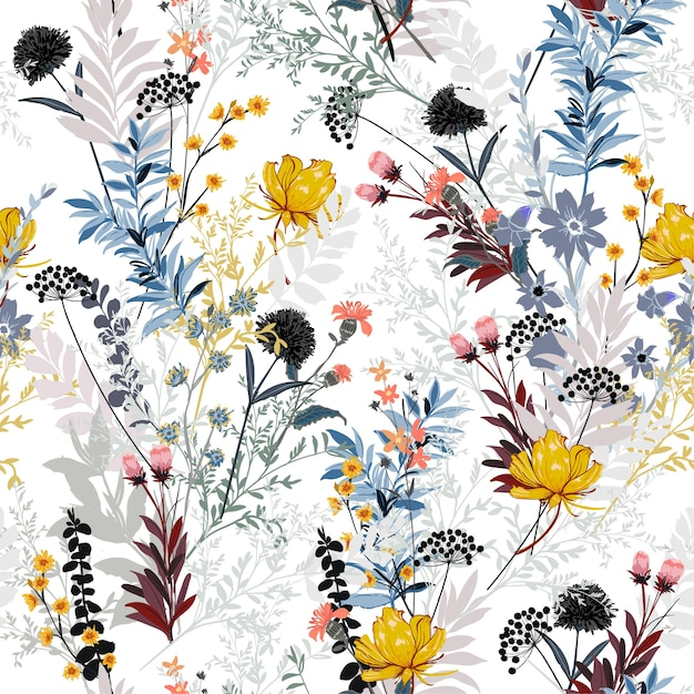 Modèle Sans Couture Saisonnier Floral Vecteur Premium