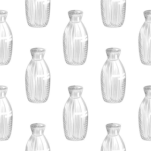 Modèle Sans Couture De Saké Japonais Sur Fond Blanc. Croquis Dessiné De Main De Saké De Bouteille En Céramique. Vecteur Premium