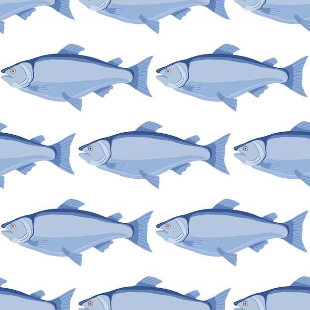 Modèle sans couture de saumon - poisson dessiné, fruits de mer Vecteur Premium