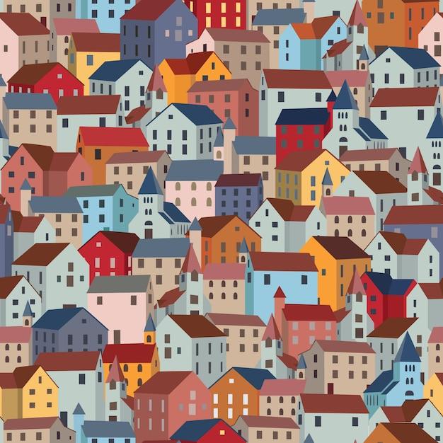 Modèle sans couture avec ses maisons colorées. Vecteur Premium