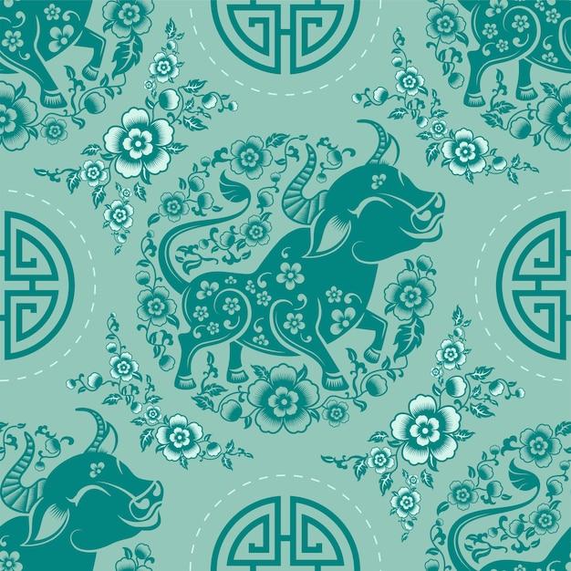 Modèle Sans Couture Avec Signe Du Zodiaque Nouvel An Chinois Du Signe Du Boeuf Avec éléments Asiatiques Vecteur gratuit