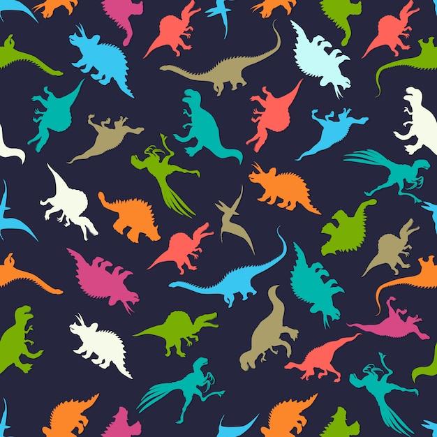 Modèle sans couture avec des silhouettes de dinosaures Vecteur Premium