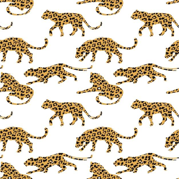 Modèle sans couture avec des silhouettes de léopard. Vecteur Premium