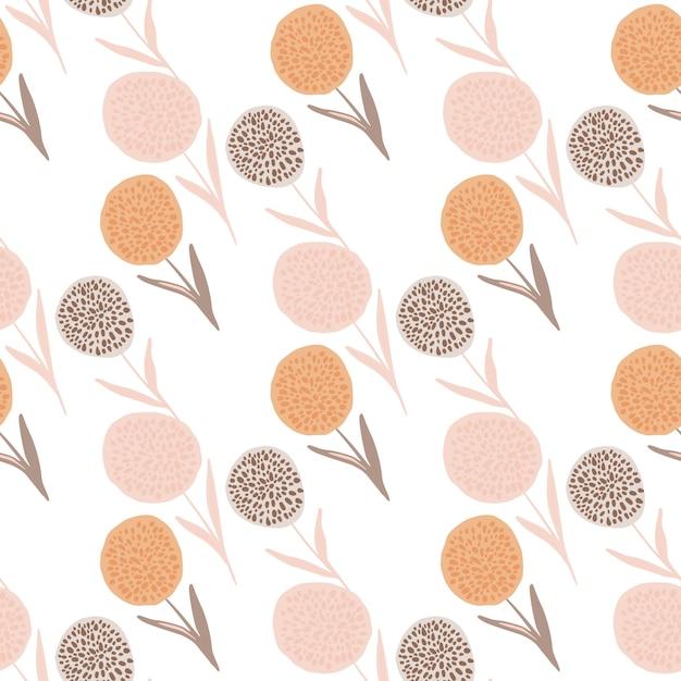 Modèle Sans Couture De Silhouettes De Pissenlit. Fleurs Dessinées à La Main Dans Des Tons Pastel Roses, Orange Et Violets Sur Fond Blanc. Pour Emballage, Textile, Impression Sur Tissu Et Papier Peint. Illustration Vecteur Premium