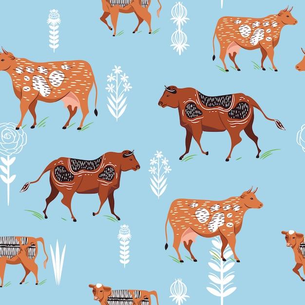 Modèle sans couture avec des silhouettes de vaches et de fleurs Vecteur Premium