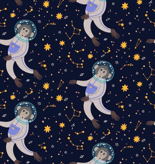 Modèle Sans Couture Avec Singe Mignon Dans L'espace. Singe Dans Le Cosmos Entouré D'étoiles. Vecteur Premium