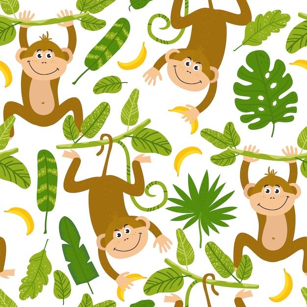 Modèle sans couture avec des singes mignons Vecteur Premium