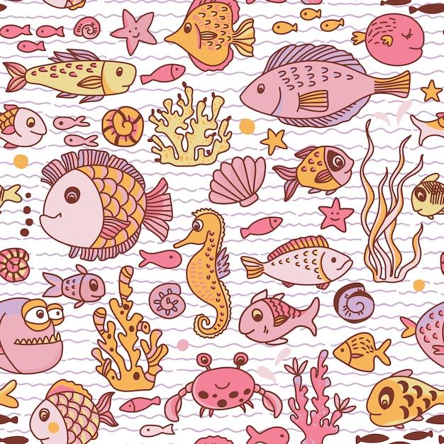 Modèle sans couture sous-marine de dessin animé avec crabe, poissons, hippocampe, coraux et autres éléments marins. Vecteur Premium