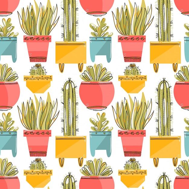 Modèle sans couture avec succulentes et cactées dans des pots colorés. Vecteur Premium
