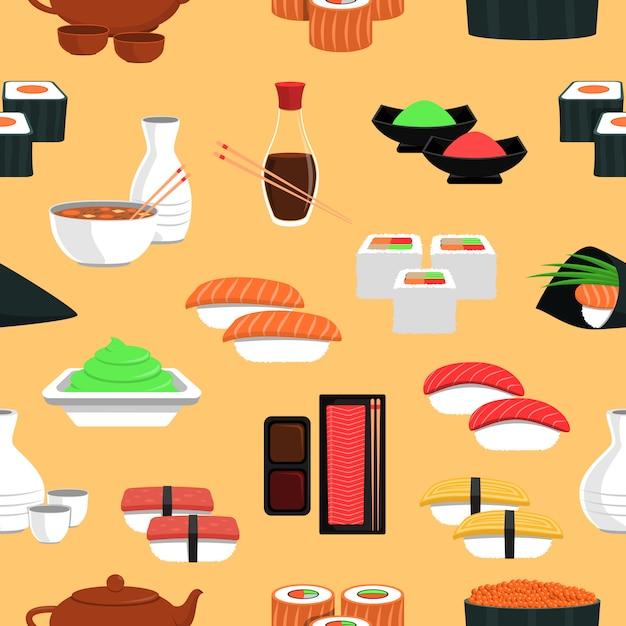 Modèle sans couture de sushi Vecteur gratuit