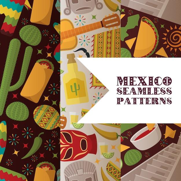 Modèle Sans Couture De Symboles Mexique Vecteur Premium