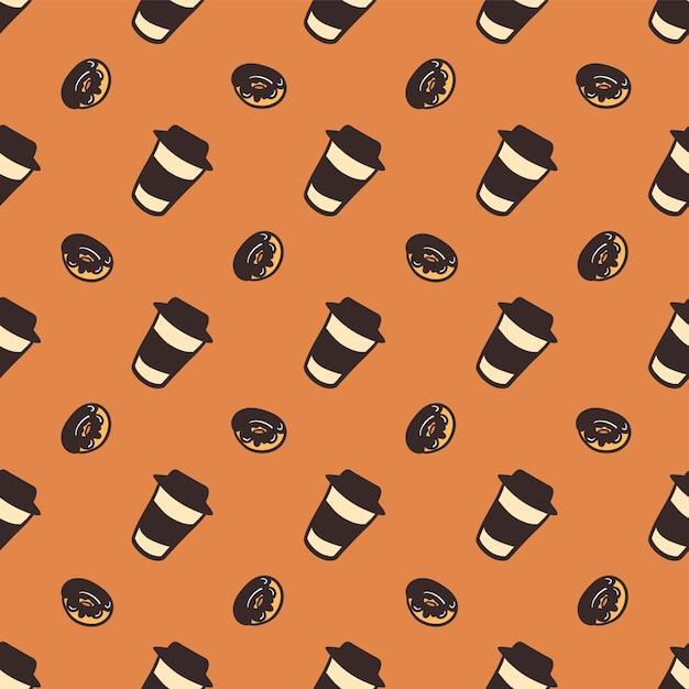Modèle Sans Couture D'une Tasse De Café Et De Délicieux Beignets. Vecteur Premium