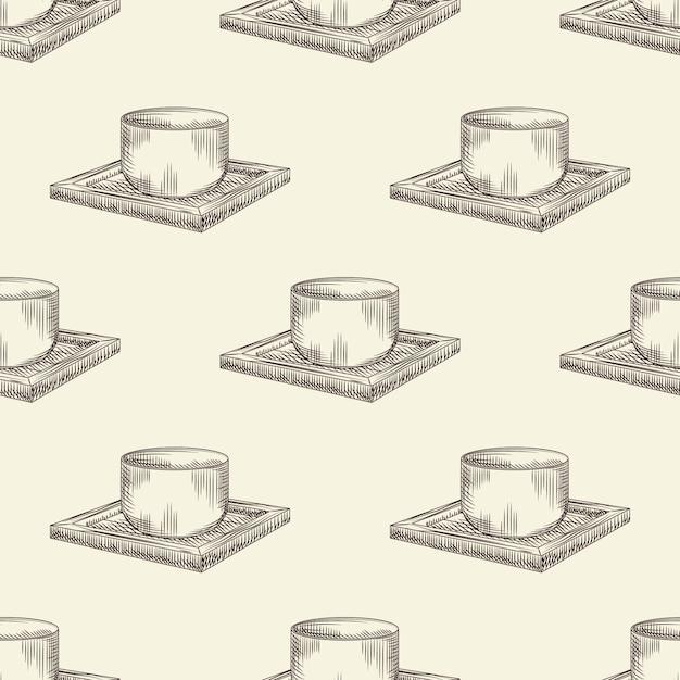 Modèle Sans Couture De Tasse De Saké Japonais. Verre De Boisson Alcoolisée De Riz Asiatique Traditionnel Sur Fond D'écran En Bois. Vecteur Premium