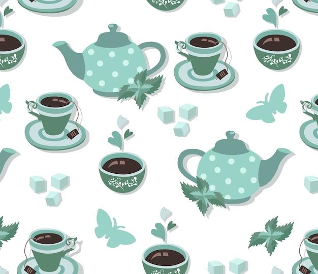 Modèle sans couture de tea party en bleu Vecteur Premium