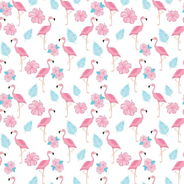 Modèle Sans Couture Tendance Tropical Avec Des Flamants Roses, Des Fleurs Et Des Feuilles De Palmier. Vecteur Premium