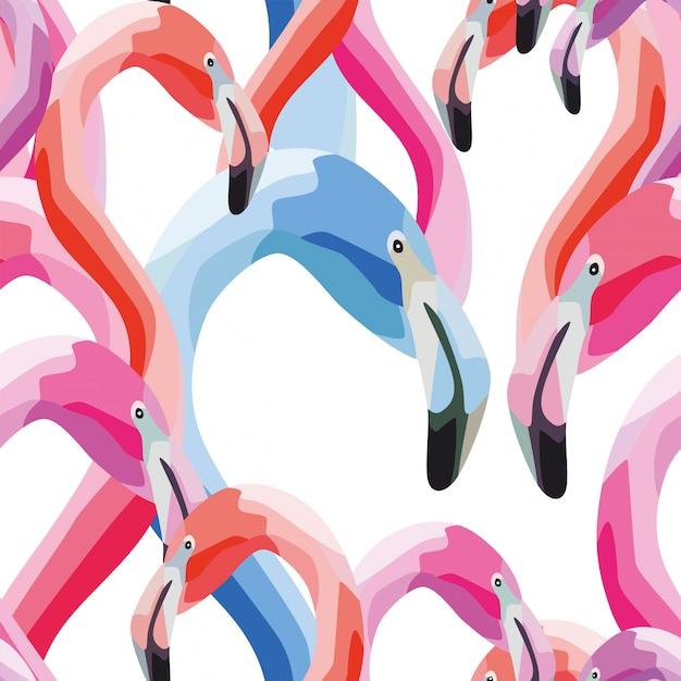 Modèle sans couture tête flamingo bleu rose Vecteur Premium