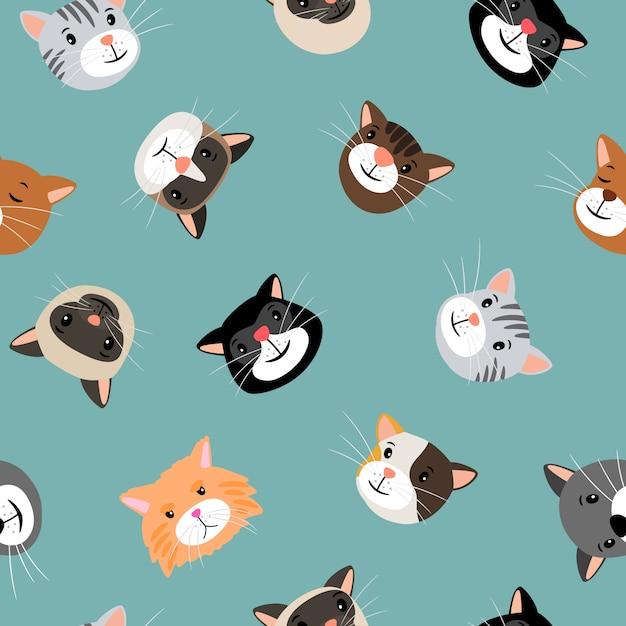 Modèle sans couture de têtes de chats Vecteur Premium