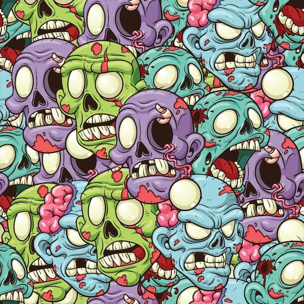 Modèle sans couture de têtes de zombies Vecteur Premium
