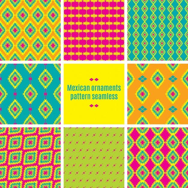 Modèle sans couture de textile entrelacs folklorique mexicain Vecteur Premium