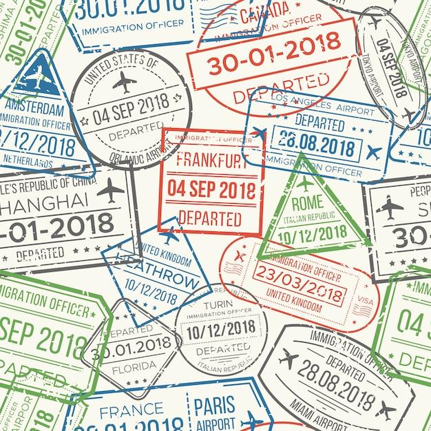 Modèle Sans Couture De Timbres Visa Aéroport De Voyage. Vecteur Premium