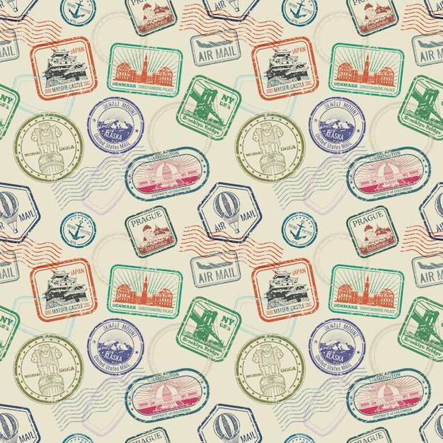 Modèle sans couture de timbres de voyage vintage Vecteur Premium