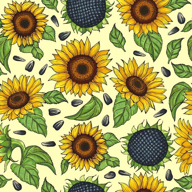 Modèle sans couture avec des tournesols jaunes. illustration vectorielle Vecteur Premium