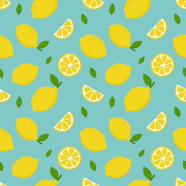 Modèle sans couture de tranches de citron. fruits d'agrumes Vecteur Premium