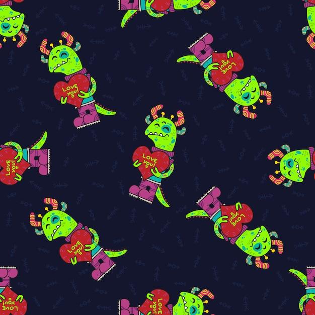Modèle sans couture tribal doodle mignon avec des extraterrestres. Vecteur Premium