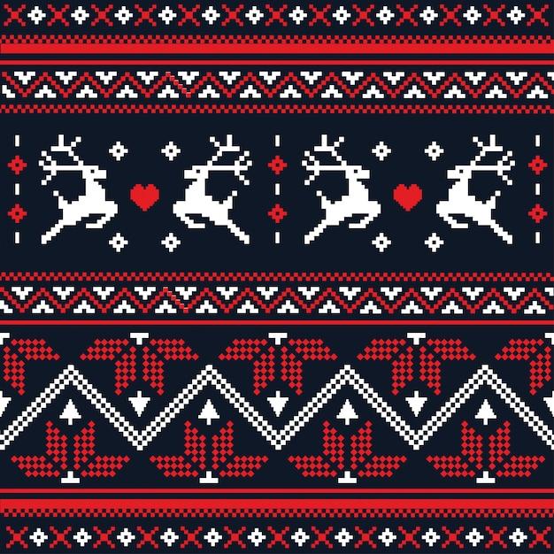 Modèle Sans Couture Tricoté à La Main De Noël Scandinave Vecteur Premium
