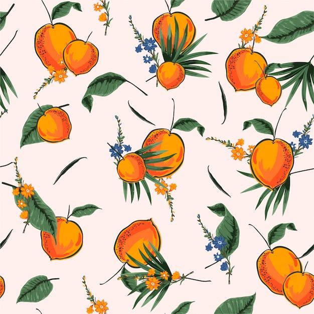 Modèle sans couture tropical clair et frais avec illustrateur orange été en conception de vecteur pour la mode, le tissu, web, papier peint et toutes les impressions Vecteur Premium