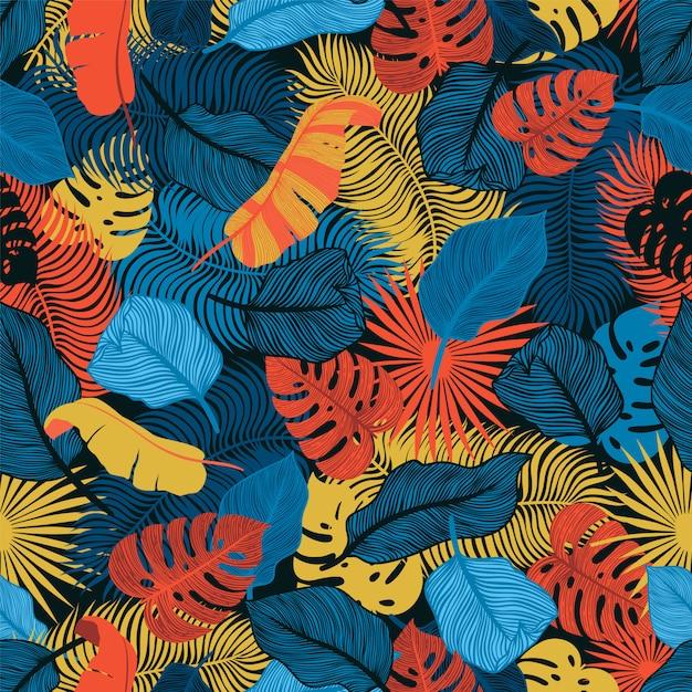 Modèle sans couture tropical avec des feuilles de palmier exotiques. monstera, palmier, feuilles de bananier. design botanique textile exotique. conception de jungle d'été. style hawaïen. Vecteur Premium