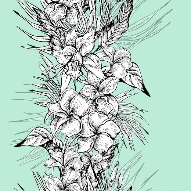 Modèle sans couture tropical floral vintage vector Vecteur Premium