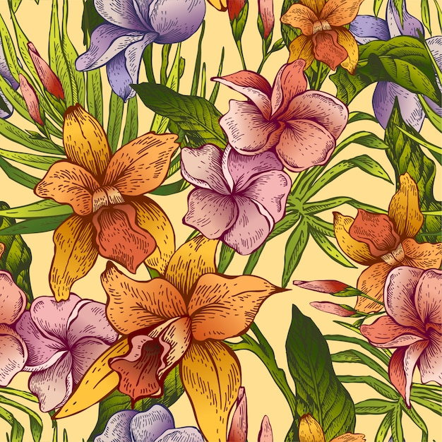 Modèle sans couture tropical floral vintage Vecteur Premium