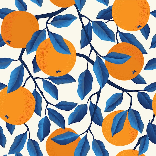 Modèle sans couture tropical avec des oranges. Vecteur Premium
