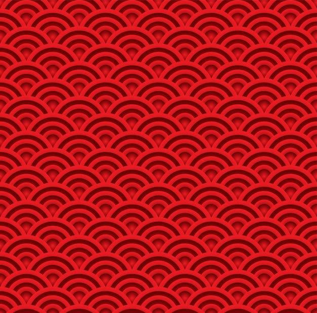 Modèle sans couture de vague rouge. vecteur de fond style art traditionnel asiatique Vecteur Premium