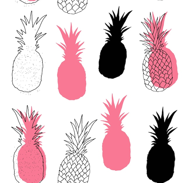 Modèle sans couture de vecteur d'ananas. Vecteur Premium