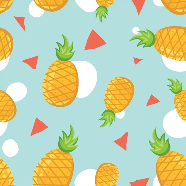 Modèle sans couture de vecteur à l'ananas Vecteur Premium