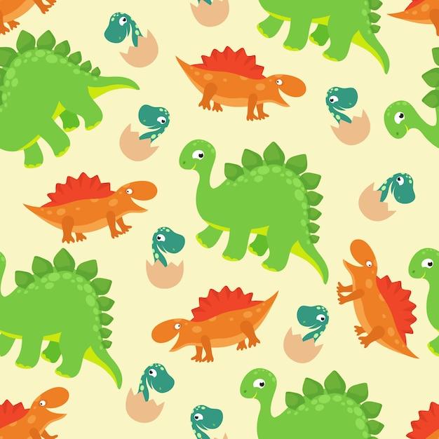 Modèle Sans Couture De Vecteur Bébé Dinosaure Dessin Animé
