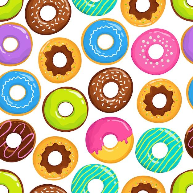 Modèle sans couture de vecteur de beignets au chocolat délicieux gâteaux glacés Vecteur Premium