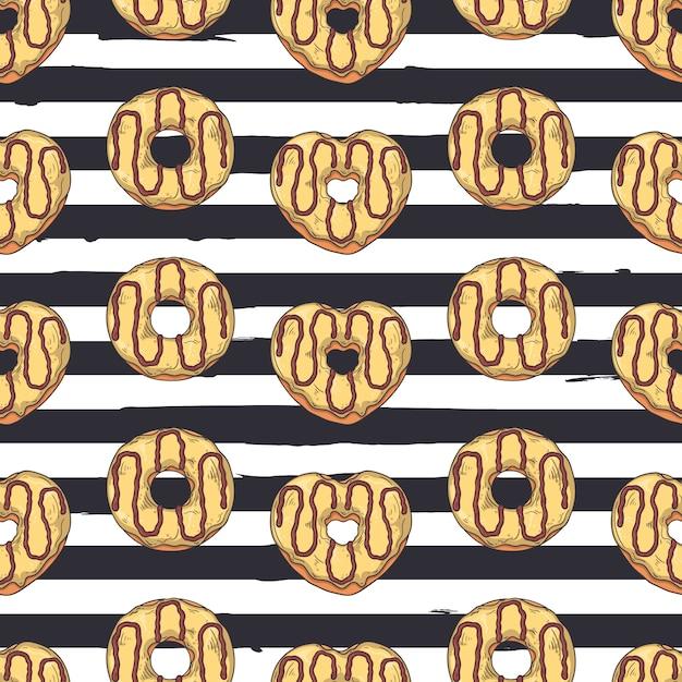 Modèle sans couture de vecteur. beignets glacés à décor de garnitures, chocolat, noix. Vecteur Premium