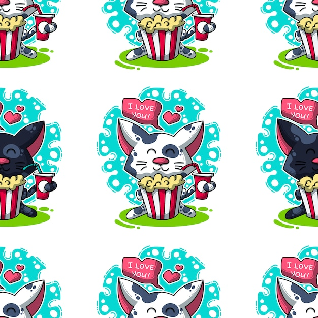 Modèle sans couture de vecteur sur les chats amoureux Vecteur Premium