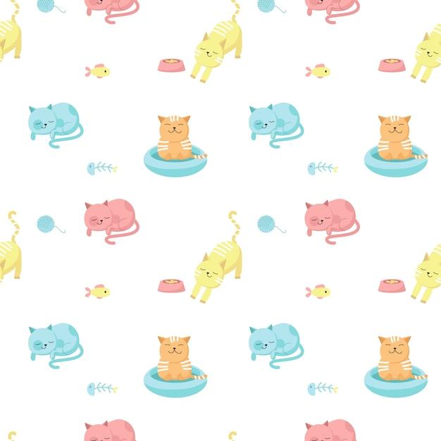 Modèle sans couture de vecteur de chats drôles. conception créative pour tissu, textile, papier peint, papier d'emballage avec des chats heureux mangeant, dormant, prenant un bain. Vecteur Premium